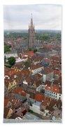 Aerial View Of Bruges Belgium Beach Towel