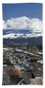 Aerial View Of Historic Downtown Truckee California Beach Towel
