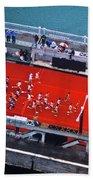 Aerial View Of People Running Beach Towel