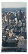 Aerial View Of Seattle Skyline With The Pro Sports Stadiums Beach Towel
