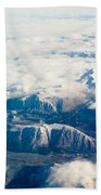 Aerial View Of Snowcapped Mountains In Bc Canada Beach Towel