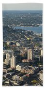 Aerial View Of Space Needle And Lake Union Beach Towel