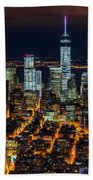 Aerial View Of The Lower Manhattan Skyscrapers By Night Beach Towel