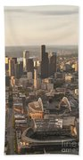 Aerial View Of The Seattle Skyline With Stadiums Beach Towel