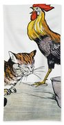 Aesop: Cat, Cock, And Mouse Beach Towel