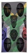 Africa Flag And Tribal Masks Beach Towel