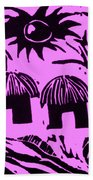 African Huts Pink Beach Towel