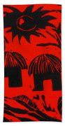 African Huts Red Beach Towel