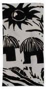 African Huts White Beach Towel by Caroline Street