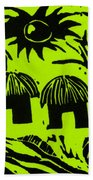 African Huts Yellow Beach Towel by Caroline Street
