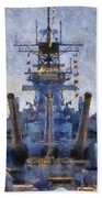 Aft Turret 3 Uss Iowa Battleship Photoart 02 Beach Towel