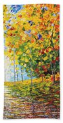 After Rain Autumn Reflections Acrylic Palette Knife Painting Beach Towel