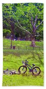 Afternoon In The Park With Friends Beach Towel