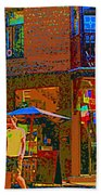 Afternoon Stroll French Bistro Sidewalk Cafe Colors Of Montreal Flags And Umbrellas City Scene Art Beach Towel