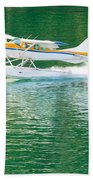 Aircraft Seaplane Taking Off On Calm Water Of Lake Beach Towel