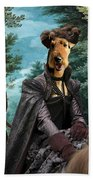 Airedale Terrier Art Canvas Print - Forest Landscape With Deer Hunting And Noble Lady Beach Towel