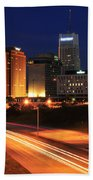 D1u-140 Akron Ohio Night Skyline Photo Beach Towel
