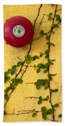 Alarm Bell And Vines Yellow Wall Beach Sheet