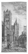 Alarming Morning In Ghent. The Left Part Of The Triptych - The Age Of Cathedrals Beach Towel