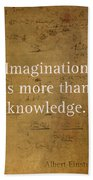 Albert Einstein Quote Imagination Science Math Inspirational Words On Worn Canvas With Formula Beach Towel