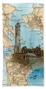 Alcatraz Island Lighthouse Ca Nautical Chart Map Art Beach Towel