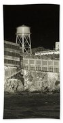 Alcatraz The Rock Sepia 1 Beach Towel