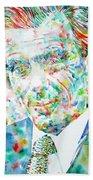 Aldous Huxley - Watercolor Portrait Beach Towel