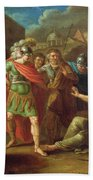 Alexander The Great Visits Diogenes At Corinth, 1787 Oil On Canvas Beach Towel