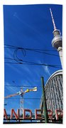 Alexanderplatz Sign And Television Tower Berlin Germany Beach Sheet