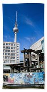 Alexanderplatz View On Television Tower Berlin Germany Beach Towel