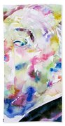 Alfred Hitchcock Watercolor Portrait.1 Beach Towel