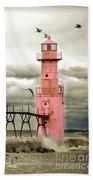 Algoma Pierhead Lighthouse Beach Towel