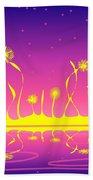 Alien Fire Flowers Beach Sheet