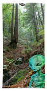 Alien In Redwood Forest Beach Towel