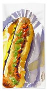All Beef Ballpark Hot Dog With The Works To Go In Broad Daylight Beach Towel by Kip DeVore