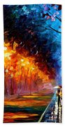 Alley By The Lake 2 - Palette Knife Oil Painting On Canvas By Leonid Afremov Beach Towel