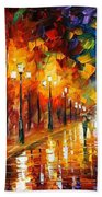 Alley Of The Memories - Palette Knife Oil Painting On Canvas By Leonid Afremov Beach Towel