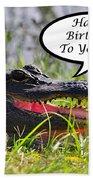 Alligator Birthday Card Beach Towel
