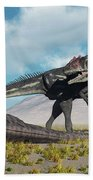 Allosaurus Dinosaurs Approaching Beach Towel