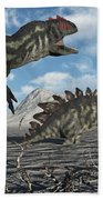 Allosaurus Dinosaurs Moving In To Kill Beach Towel