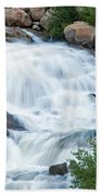 Alluvial Fan Falls On Roaring River In Rocky Mountain National Park Beach Towel