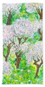 Almond Trees And Leaves Beach Towel by Augusta Stylianou