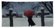 Alone In The Snow Beach Towel