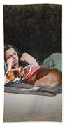 Alone With Her Dog Beach Towel