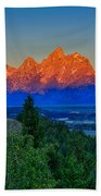 Alpenglow Across The Valley Beach Towel