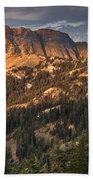 Alpenglow On Brokeoff Mountain Beach Towel