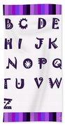 Alphabet With Purple Stripes Beach Towel