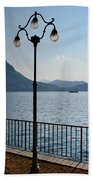 Alpine Lake With Street Lamp Beach Towel