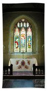 Altar And Stained Glass Window Nether Wallop Beach Towel