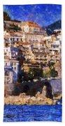 Amalfi Town In Italy Beach Towel